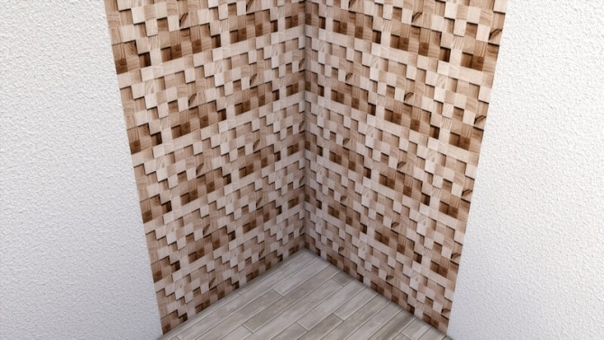 Blocks of Wood wall by LaLunaRossa at About Sims image 9915 670x377 Sims 4 Updates