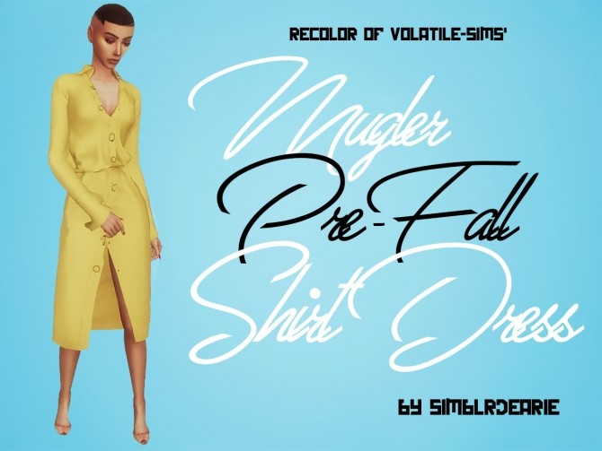 Sims 4 Volatile Sims' Pre Fall Shirt Dress RECOLOR at Meraki – simblrdearie