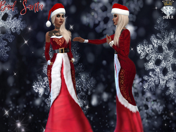 Sims 4 Bad Santa Dress by MadameChvlr at TSR