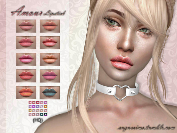 Sims 4 Amour Lipstick N1 by Suzue at TSR