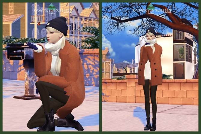 Sims 4 SNOWING FUN POSES SETS at Flower Chamber