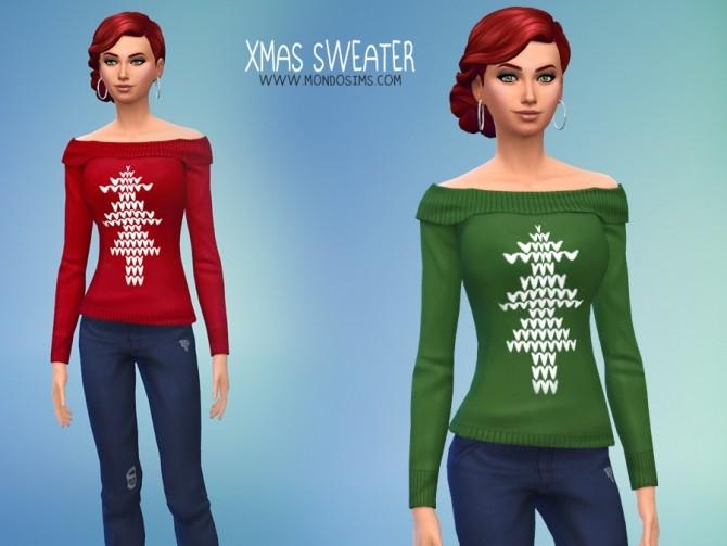 Sims 4 Xmas Female Sweater by Simone at Mondo Sims
