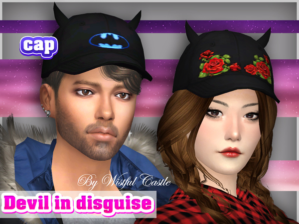 Sims 4 Devil in disguise cap by WistfulCastle at TSR