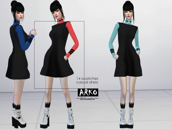 ARKO FM Casual Dress by Helsoseira at TSR image 1229 Sims 4 Updates