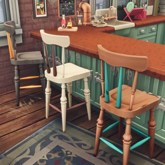 Recolours of the shabby wooden chair and bar stool at Picture Amoebae image 1272 670x670 Sims 4 Updates