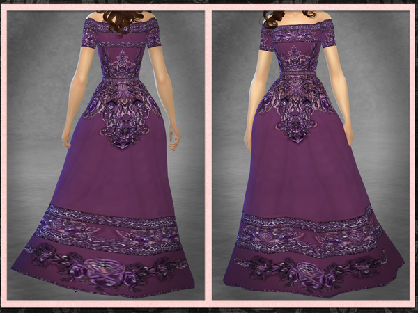 Sims 4 ZM Off the Shoulder Embroidered Gown by Five5Cats at TSR