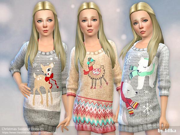 Sims 4 Christmas Sweater Dress 02 by lillka at TSR