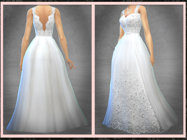 Sims 4 Wedding Dress EB13 with Blush Colors by Five5Cats at TSR