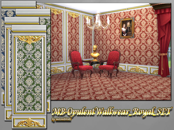 Sims 4 MB Opulent Wallwear Royal SET by matomibotaki at TSR