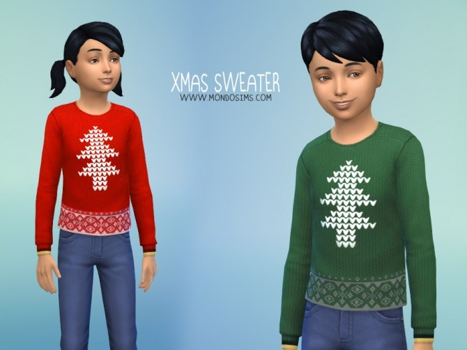 Sims 4 Xmas Sweater for kids by Simone at Mondo Sims