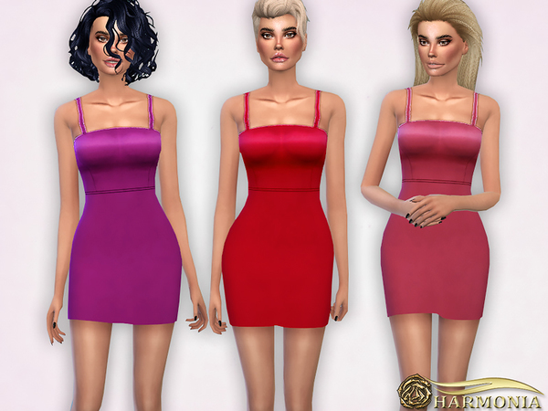 Curved Hem Strappy Cocktail Dress by Harmonia at TSR image 1424 Sims 4 Updates