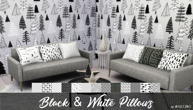 Sims 4 Black & White Pillows at MSQ Sims