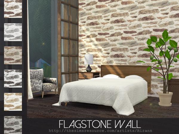 Sims 4 Flagstone Wall by Rirann at TSR