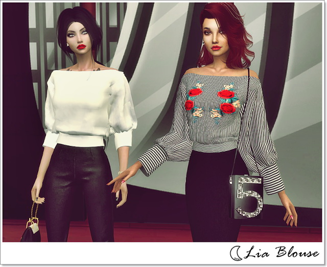 Sims 4 LIA BLOUSE at Blue8white