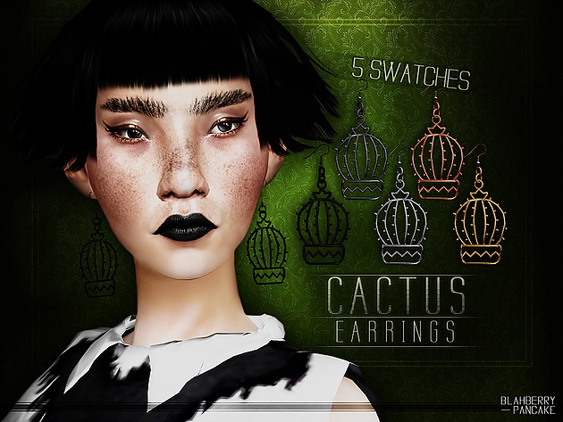 Sims 4 Cactus Earrings at Blahberry Pancake