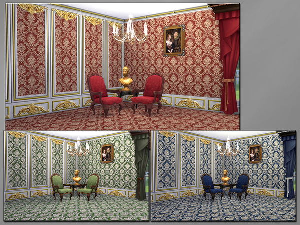 Sims 4 MB Opulent Wallwear Royal SET by matomibotaki at TSR