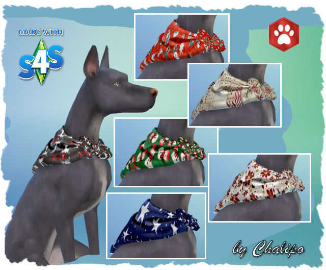 Christmas Dog scarves by Chalipo at All 4 Sims image 159 Sims 4 Updates