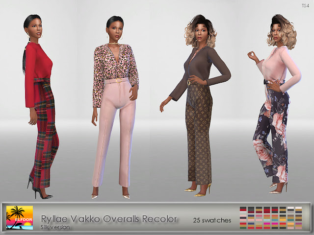 Sims 4 Overalls Silk Recolors at Elfdor Sims