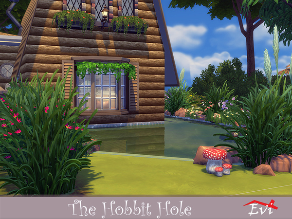 Sims 4 The Hobbit Hole home by evi at TSR
