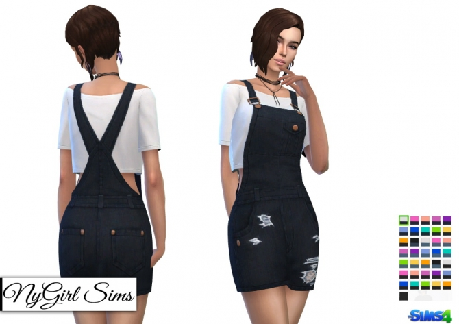 Overall Mini Dress With Crop Tee At Nygirl Sims 187 Sims 4