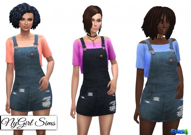Sims 4 Overall Mini Dress with Crop Tee at NyGirl Sims