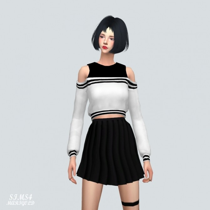 Off Shoulder Sweatshirt With Sleeveless at Marigold image 17210 670x670 Sims 4 Updates