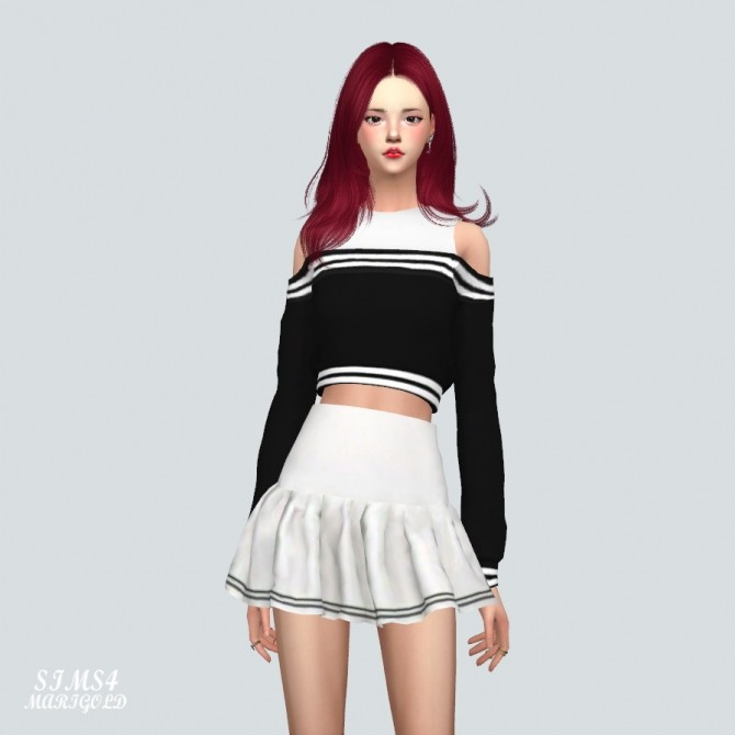 Off Shoulder Sweatshirt With Sleeveless at Marigold image 1735 670x670 Sims 4 Updates