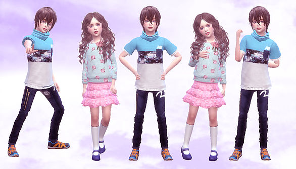 Sims 4 Combination pose 04 Child at A luckyday