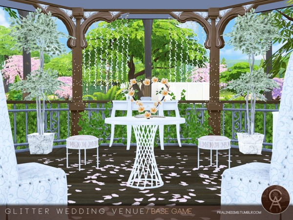 Sims 4 Glitter Wedding Venue by Pralinesims at TSR