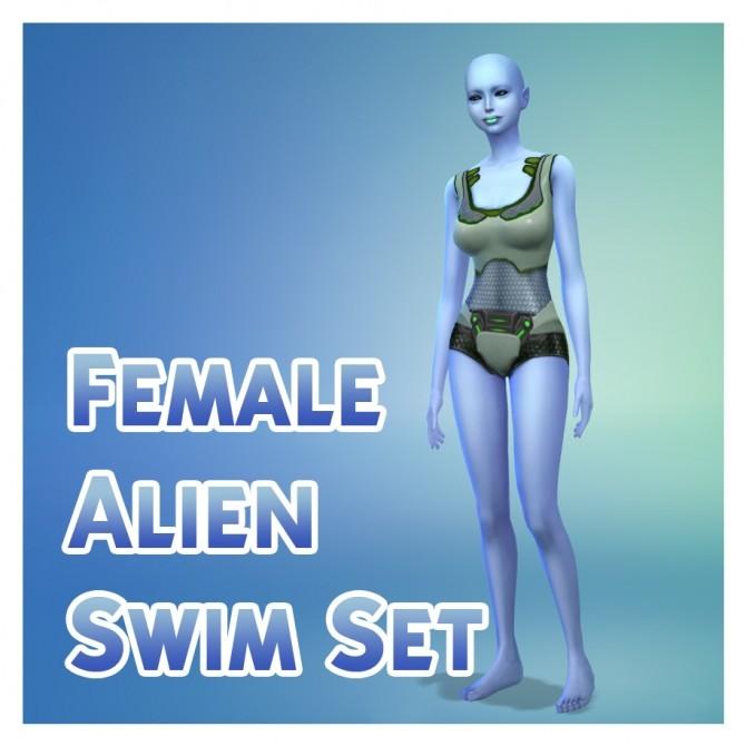 Sims 4 Female Alien Swimwear Set by Menaceman44 at Mod The Sims