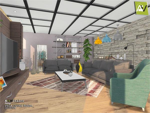 Sims 4 Vega Living Room by ArtVitalex at TSR