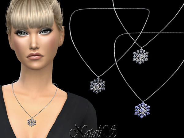 Sims 4 Sparkling snowflake pendant necklace by NataliS at TSR