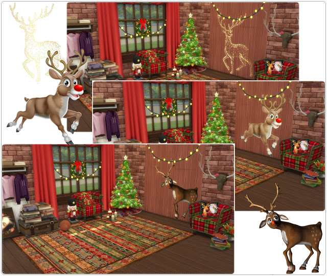 Wall deco reindeer at annett s sims 4 welt sims 4 updates for Deco appartement sims 4