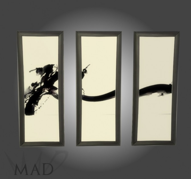 Sims 4 Set of modern triptychs by Mad at Sims Artists