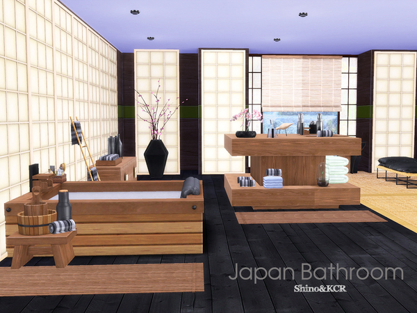 Japan Bathroom by ShinoKCR at TSR image 2015 Sims 4 Updates