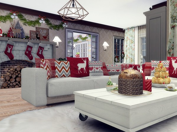 Charming Xmas house built by MychQQQ at TSR image 2024 Sims 4 Updates
