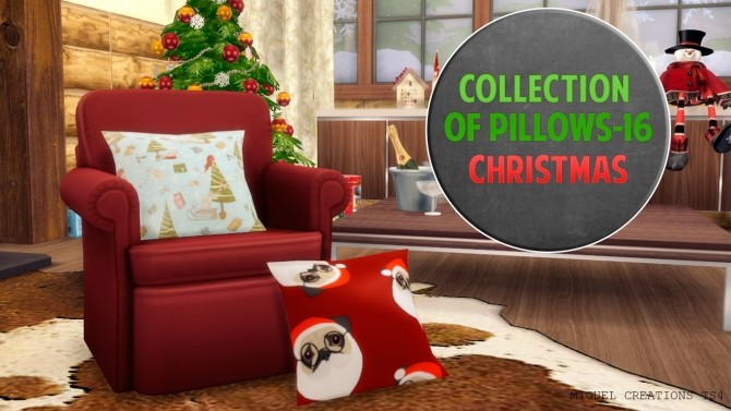 Sims 4 Collection of Pillows 16 (Christmas) at Victor Miguel
