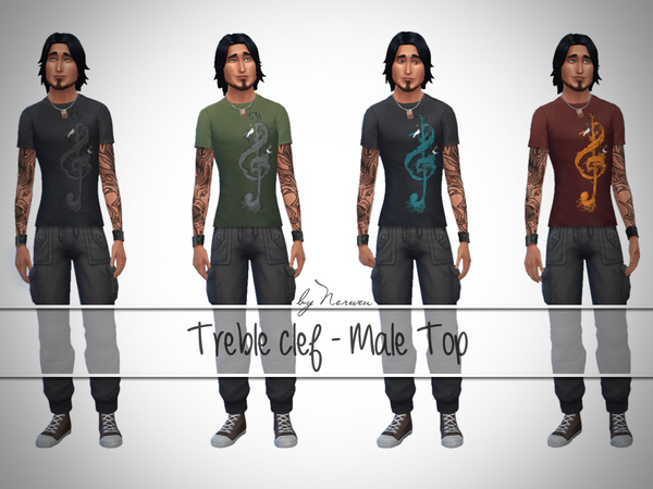 Treble clef Male Top by Nerwen666 at TSR image 210 Sims 4 Updates