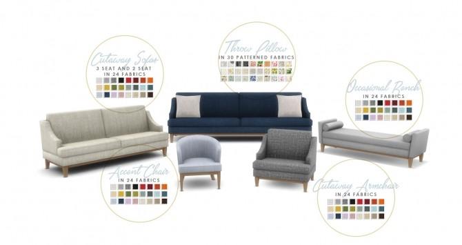 Sims 4 Hamptons Hideaway Living Room Set at Simsational Designs