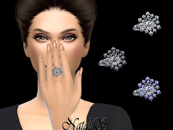 Sims 4 Sparkling snowflake ring by NataliS at TSR