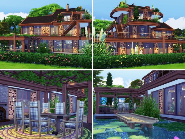 Sims 4 Chestnut wooden house built by MychQQQ at TSR