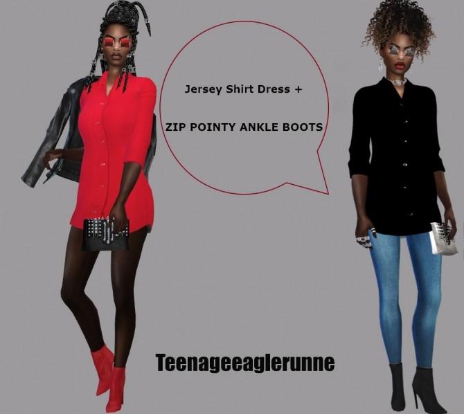 Sims 4 Jersey Shirt Dress & ANKLE BOOTS & Earrings at Teenageeaglerunner