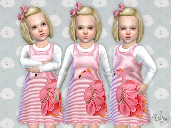 Sims 4 Flamingo Dress by lillka at TSR
