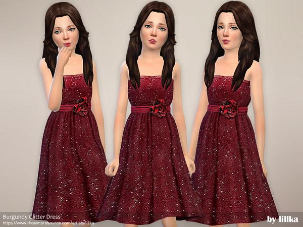 Sims 4 Burgundy Glitter Dress by lillka at TSR