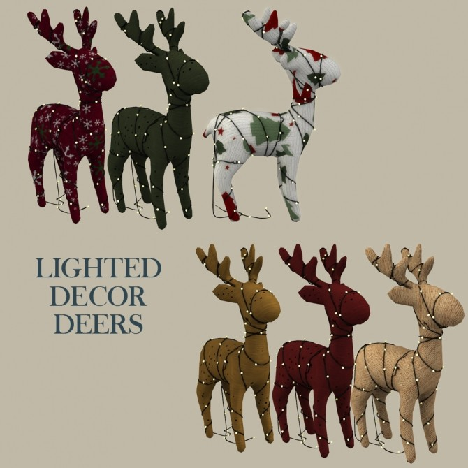 Sims 4 Lighted Decor Deers at Leo Sims