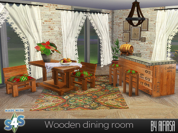 Wooden dining room at Aifirsa image 2554 Sims 4 Updates