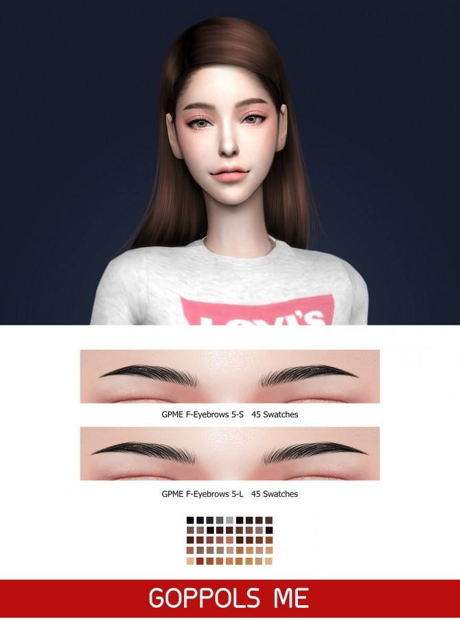 GPME F Eyebrows 5 S & 5 L at GOPPOLS Me image 2612 670x905 Sims 4 Updates