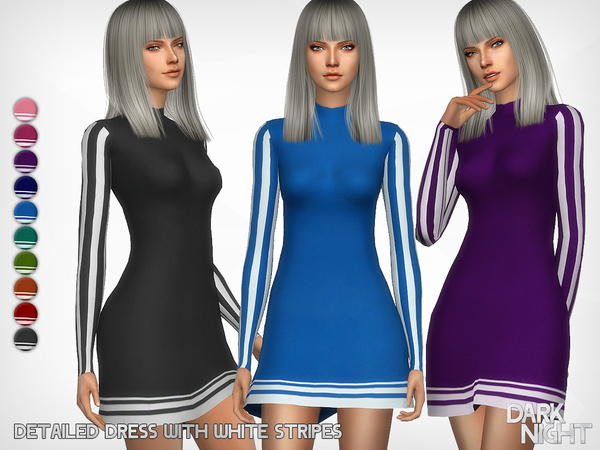 Sims 4 Detailed Dress with White Stripes by DarkNighTt at TSR