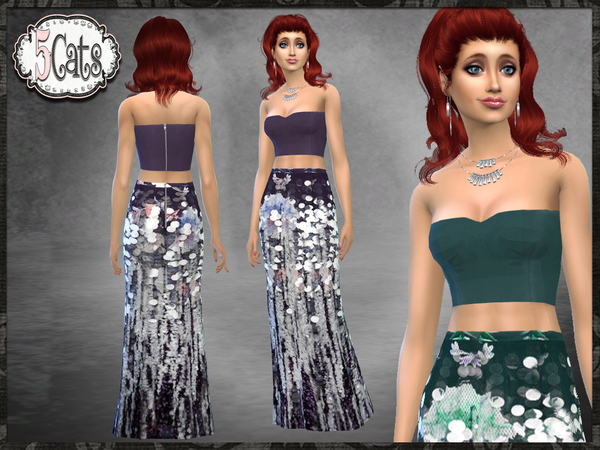 Sims 4 SF Tube Top with Long Sequin Skirt Outfit by Five5Cats at TSR