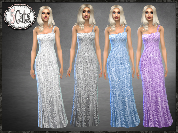 NK One Shoulder Jewel Bead Gown by Five5Cats at TSR image 2827 Sims 4 Updates